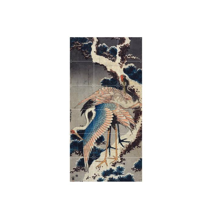 Grues à la branche d'une mâchoire enneigée (Hokusai) 60 x 120 cm de IXXI