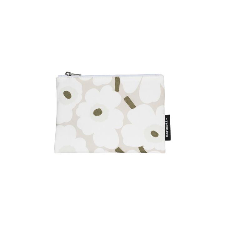 Mini sac à cosmétiques Kaika Unikko, beige / blanc / gris-vert par Marimekko