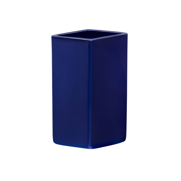 Vase en céramique Ruutu 180 mm de Iittala dans le bleu foncé