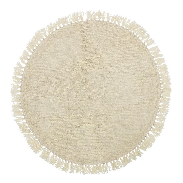 Bloomingville - Tapis en fibres naturelles avec franges Ø 110 cm, laine
