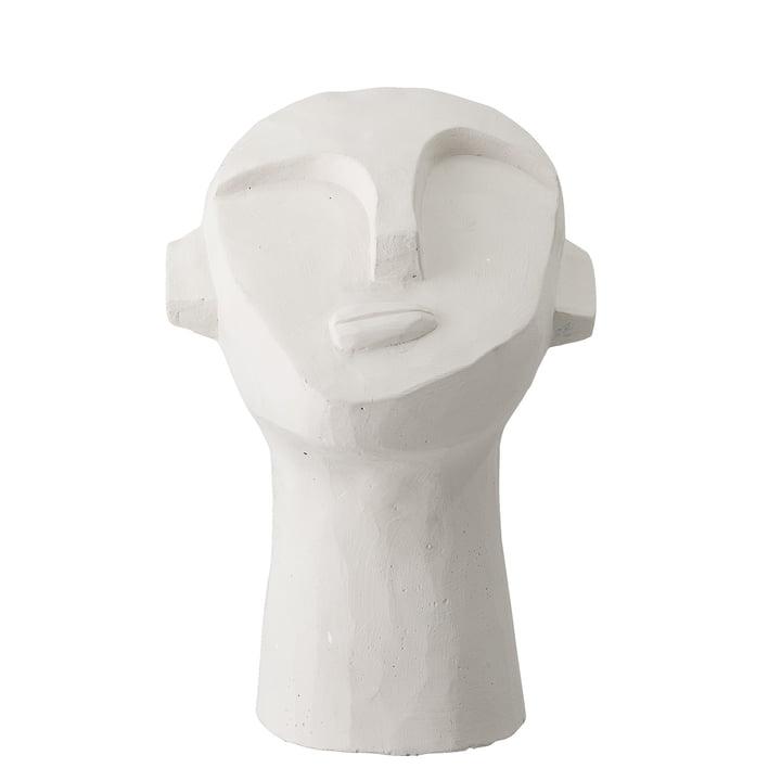 sculpture de tête abstraite H 22 cm de Bloomingville en béton blanc