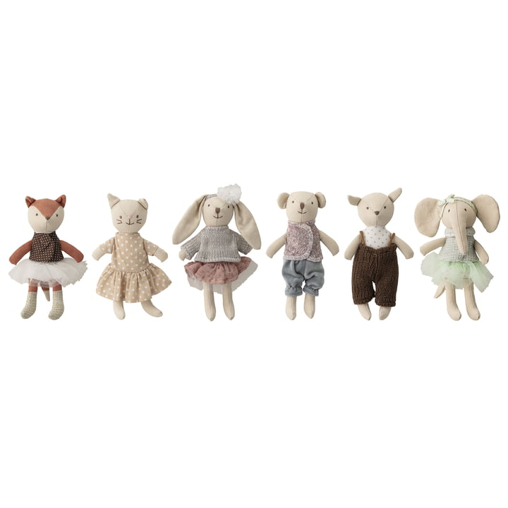 Mini-jouets en peluche (lot de 6) de Bloomingville en multicolore