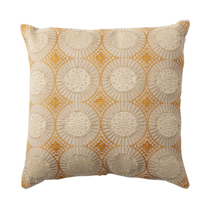 Coussin brodé avec des cercles de 45 x 45 cm Bloomingville en jaune / beige