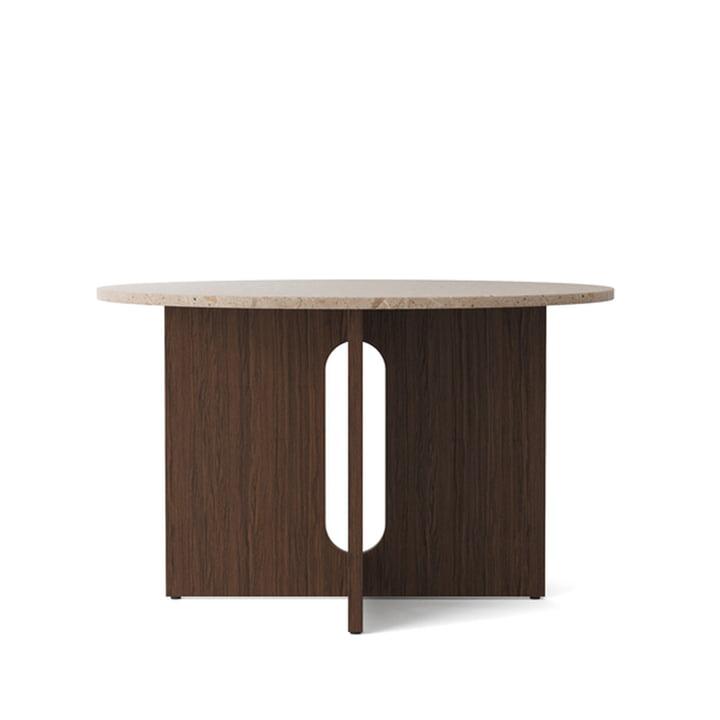Table androgyne, Ø 120 x H 73 cm, chêne foncé / grès de Menu