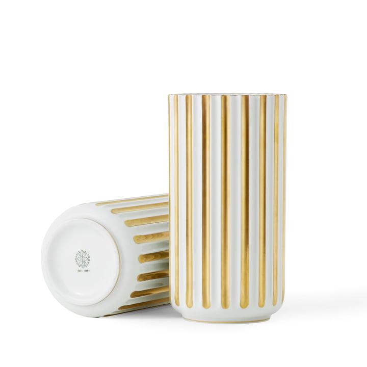 Lyngbyvase H 15,5 cm de Lyngby Porcelæn en blanc / or