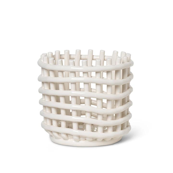 Panier en céramique petit de ferm Vivre en blanc cassé