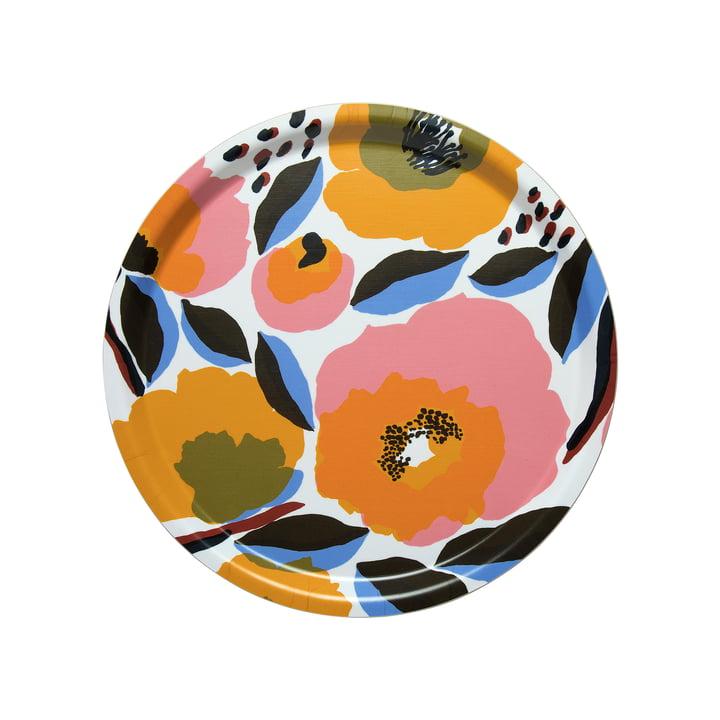 Marimekko - Plateau pour rosarium Ø 31 cm, blanc / rouge / jaune / bleu (printemps/été 2020)