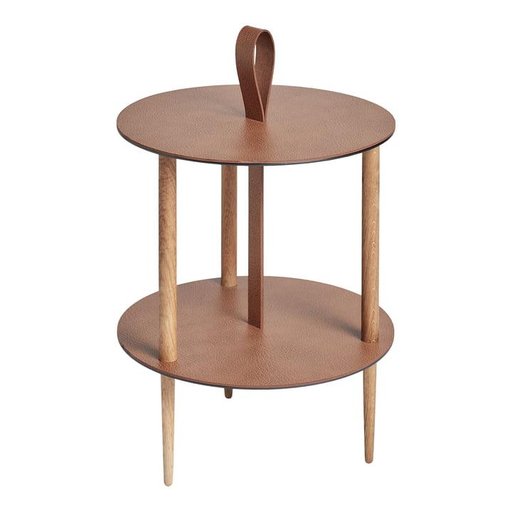 Strap Table d'appoint, Ø 38 x H 46 cm, chêne naturel / taureau naturel de LindDNA