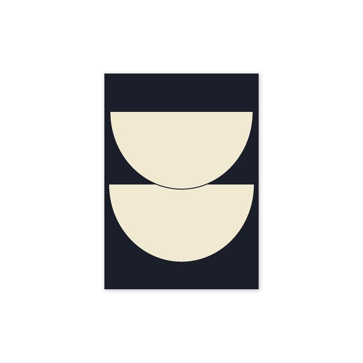 Half Circles I Affiche, 30 x 40 cm, bleu de Paper Collective