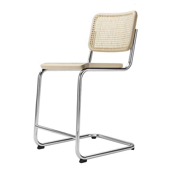 S 32 VHT fauteuil de bar SH 64 cm Thonet en chrome / hêtre naturel / osier avec tissu de soutien
