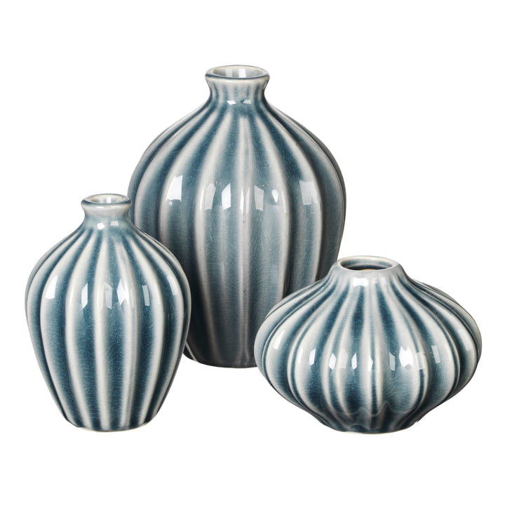 Amalie Vase, mirage bleu (set de 3) de Broste Copenhagen