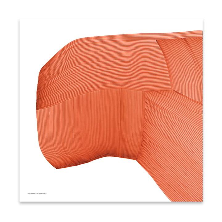 Drawing 6 affiches 69 x 69 cm de The Wrong Shop en orange