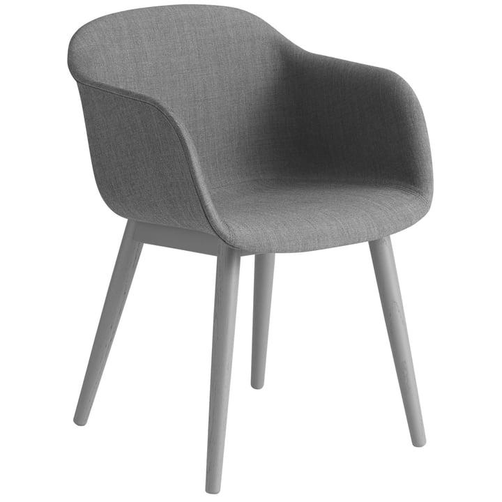 Fiber Chair Wood Base, gris / Remix 133 par Muuto