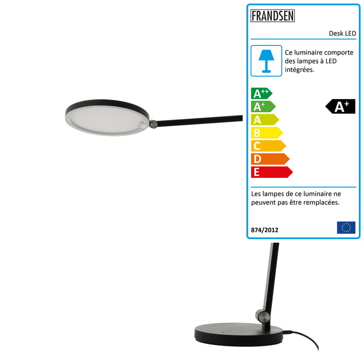 Lampe de table LED de bureau, noir mat de Frandsen