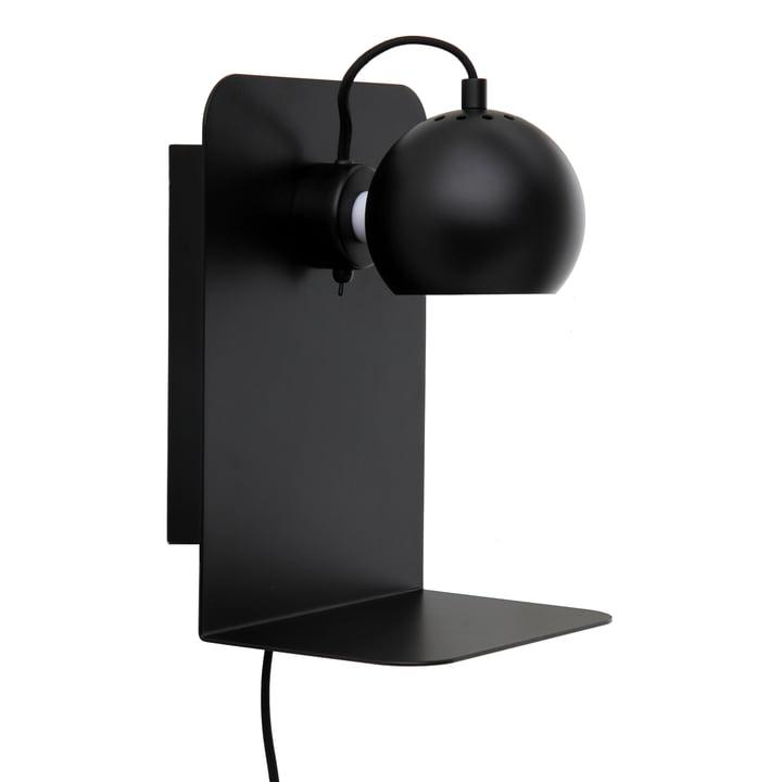 Ball Lampe murale USB avec étagère, noir mat de Frandsen