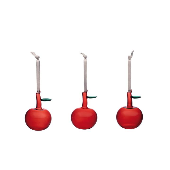 Pomme en verre (set de 3) de Iittala en rouge