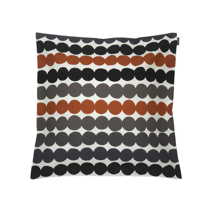 Marimekko - Taie d'oreiller Räsymatto 50 x 50 cm, blanc / gris / orange (automne/hiver 2020)