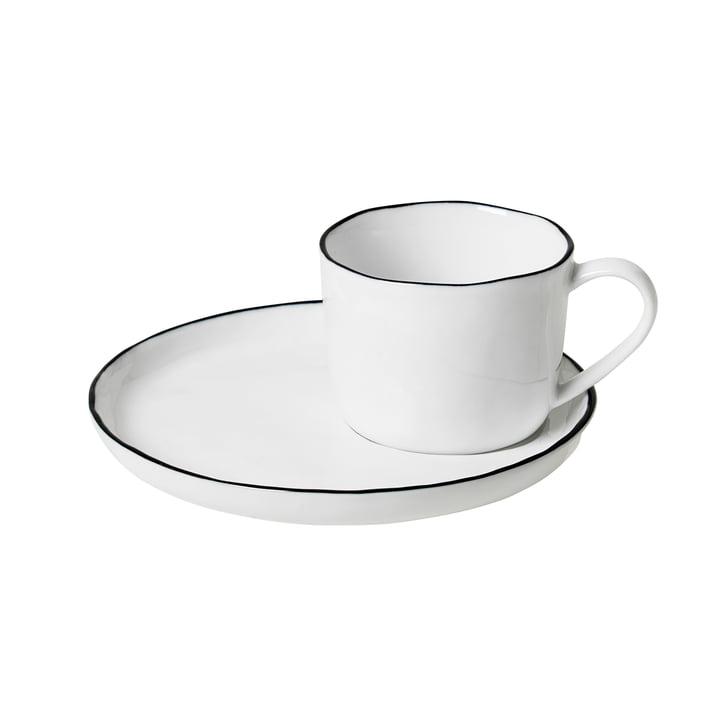 Tasse à Salt et soucoupe S, 10 cl, blanc / noir de Broste Copenhagen