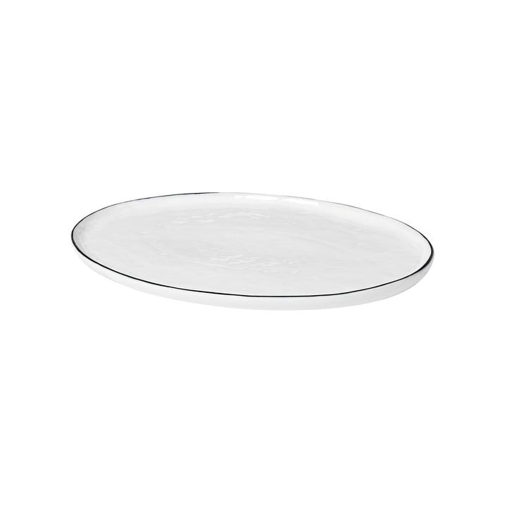 Salt servant de plaque ovale, 30 x 20 cm, blanc / noir de Broste Copenhagen