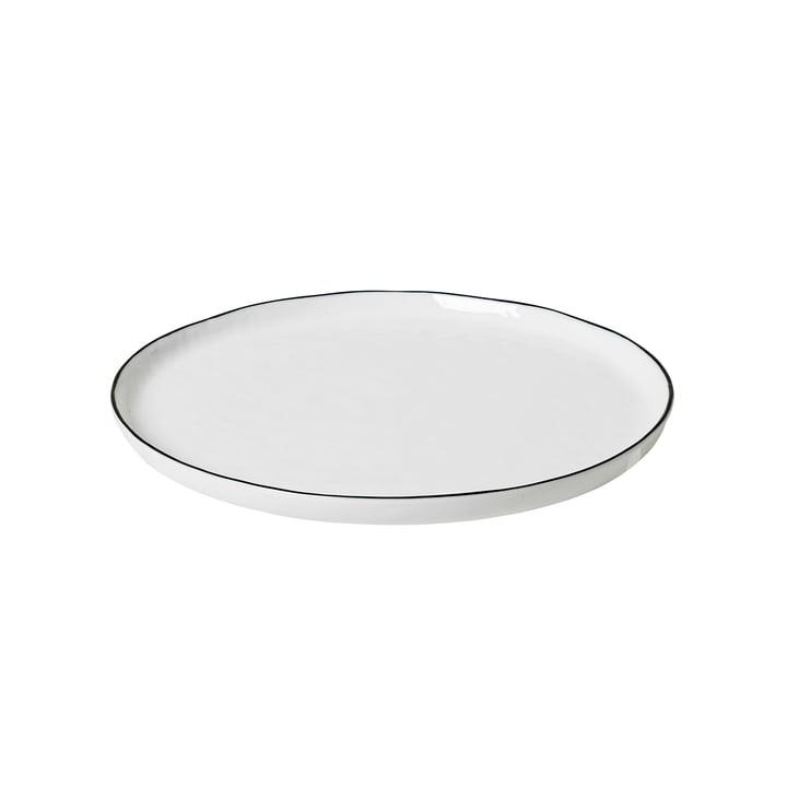 Assiette à déjeuner en Salt Ø 22 cm, blanc / noir de Broste Copenhagen