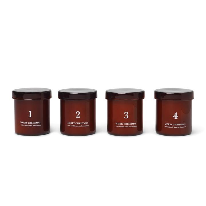 Bougies de l'Avent Scented, brun-rouge (lot de 4) de ferm Living
