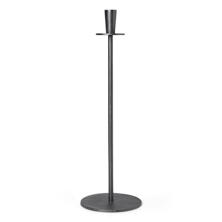 Bougeoir Hoy Casted H 55 cm, noir par ferm Living