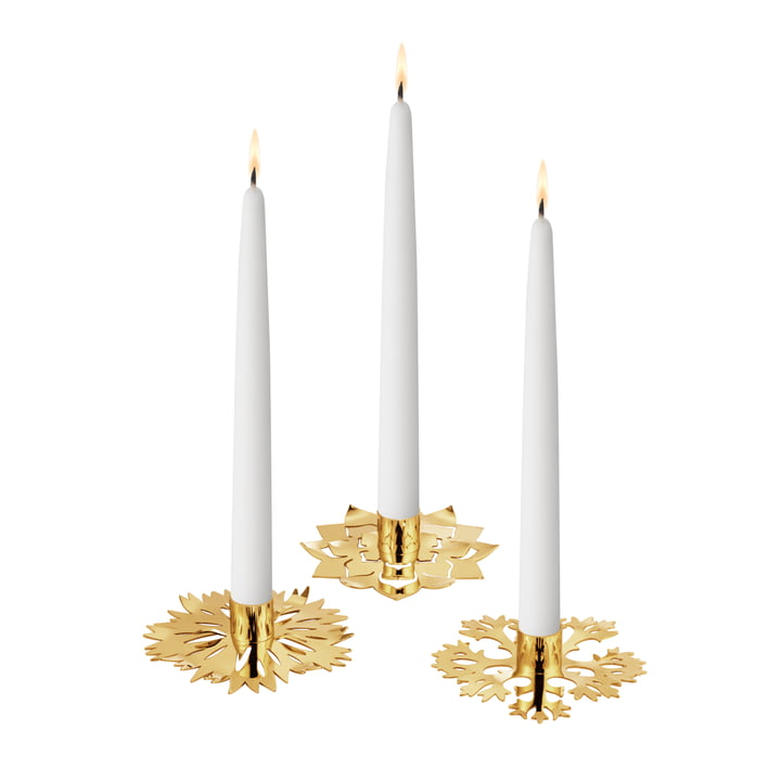 Bougeoir Eisblume, lot de 3, or par Georg Jensen .