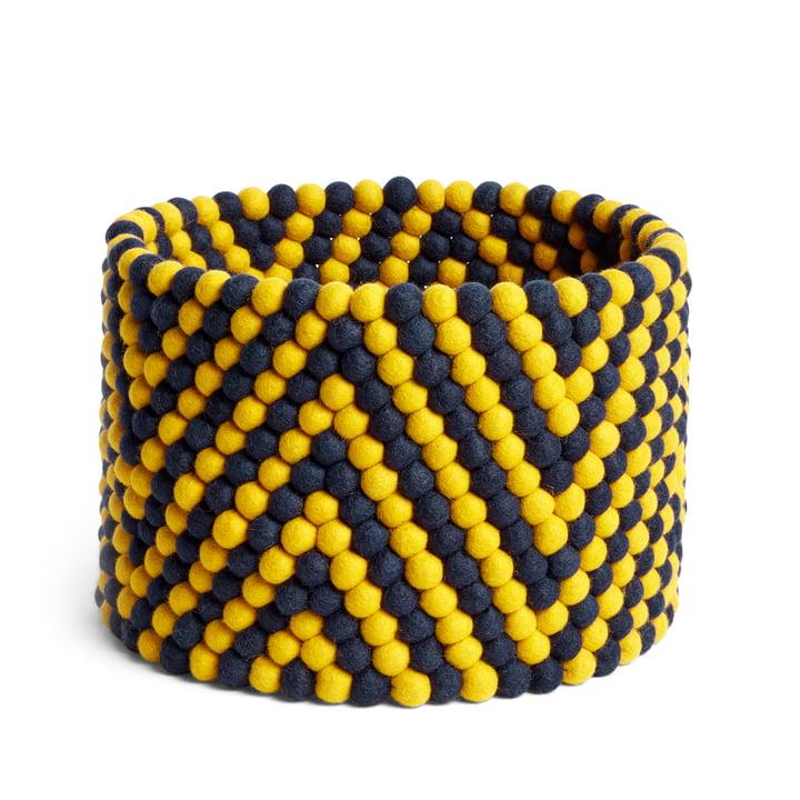 Panier de rangement en Bead, Ø 40 x H 27 cm, motif chevrons jaune par Hay .