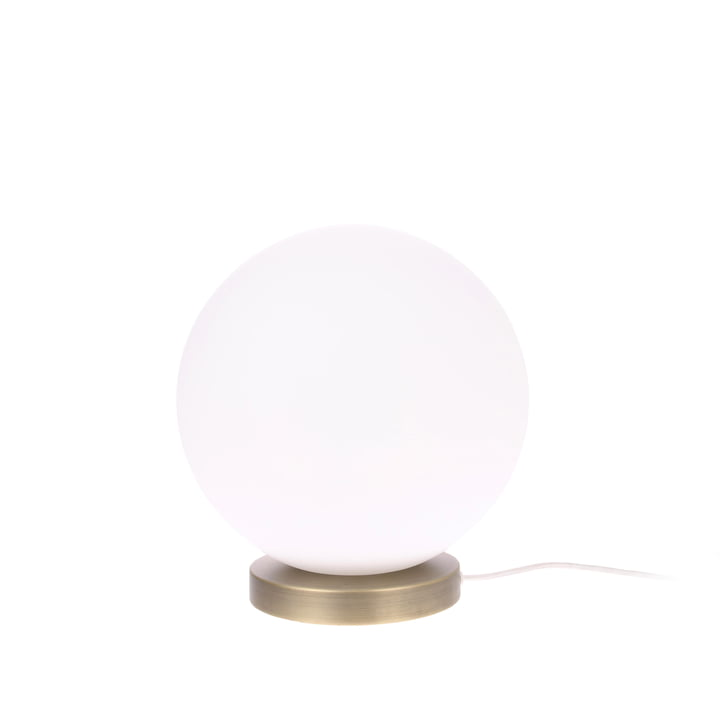 Lampe de table The Ball, M, Ø 20 cm, blanc / laiton - HKliving