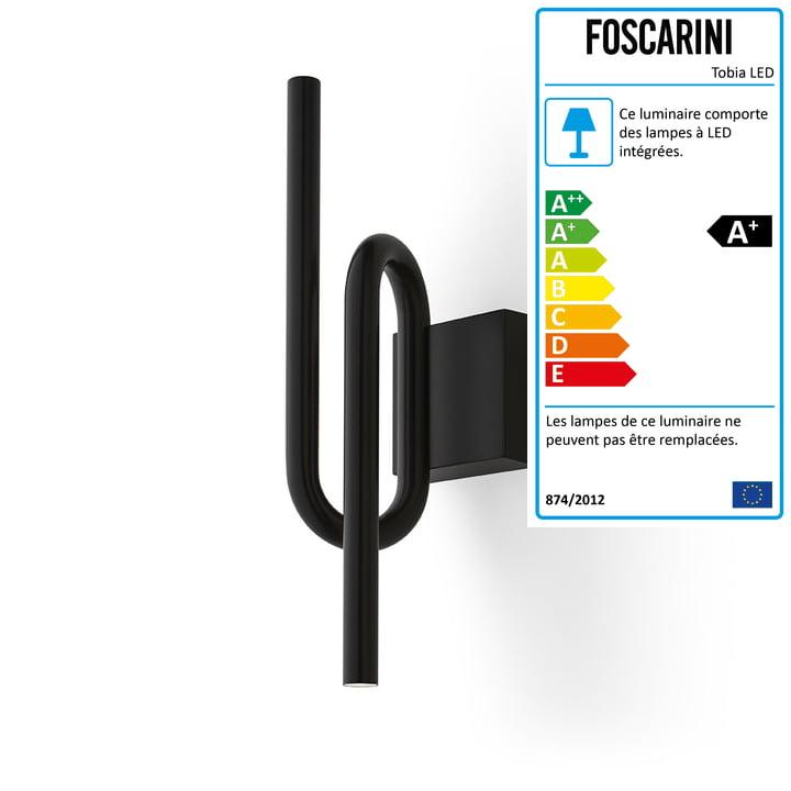 L'applique murale LED Tobia, noire par Foscarini