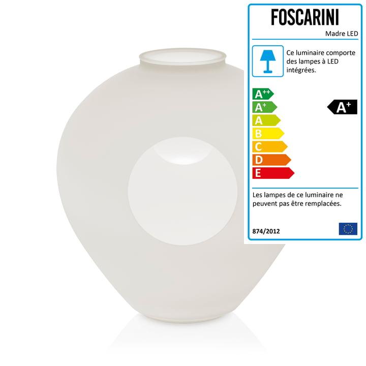 La lampe de table Madre, blanche par Foscarini