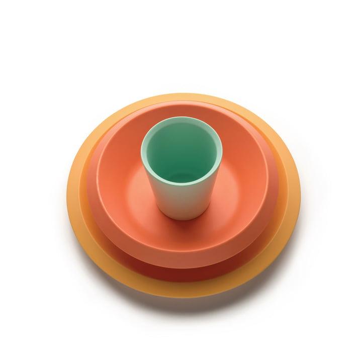 La vaisselle pour enfants Giro Kids S1, jaune / orange / vert (3 pcs.) de Alessi