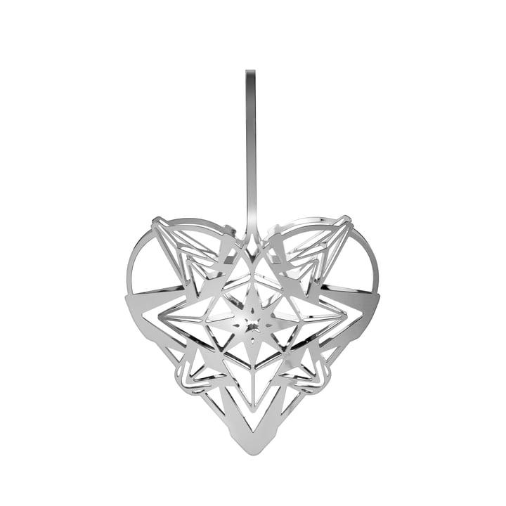Le coeur de Noël de Karen Blixens, H 12,8 cm, argent par Rosendahl