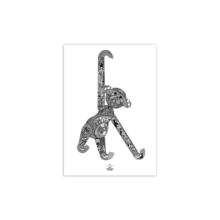 Affiche du singe, 30 x 40 cm, noir / blanc de Kay Bojesen