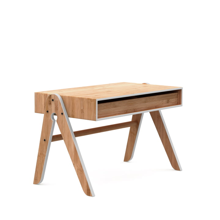La table du Géo, hêtre / bambou / gris clair par We Do Wood