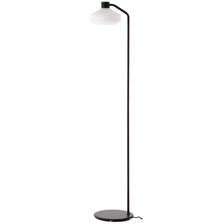 Le lampadaire Mayor de Frandsen en noir mat / blanc opale