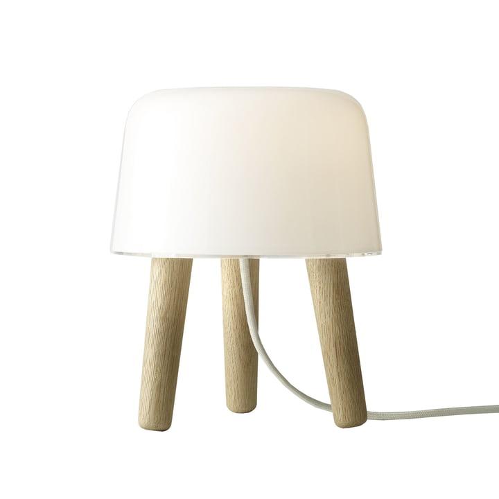 Milk Lampe de table de & tradition avec câble blanc et pieds en bois de chêne
