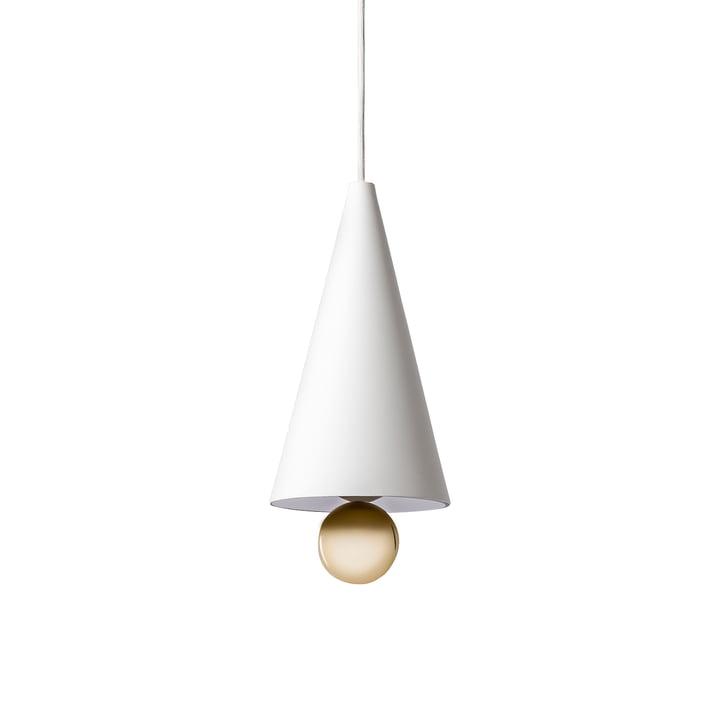 Suspension lumineuse Cherry petit format de Petite Friture en blanc/doré