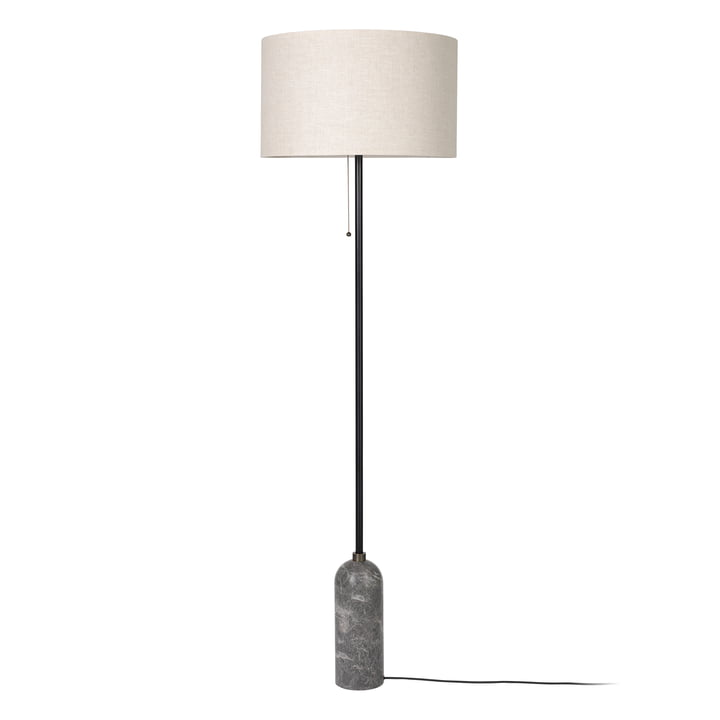 Gubi - Lampadaire Gravity, toile / marbre gris