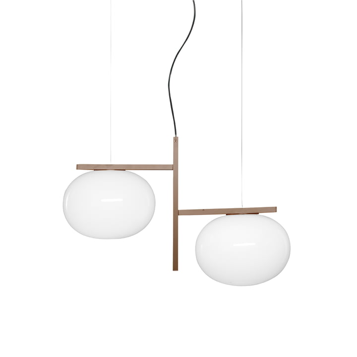 Lampe à suspension Alba 468, verre opale / laiton de Oluce