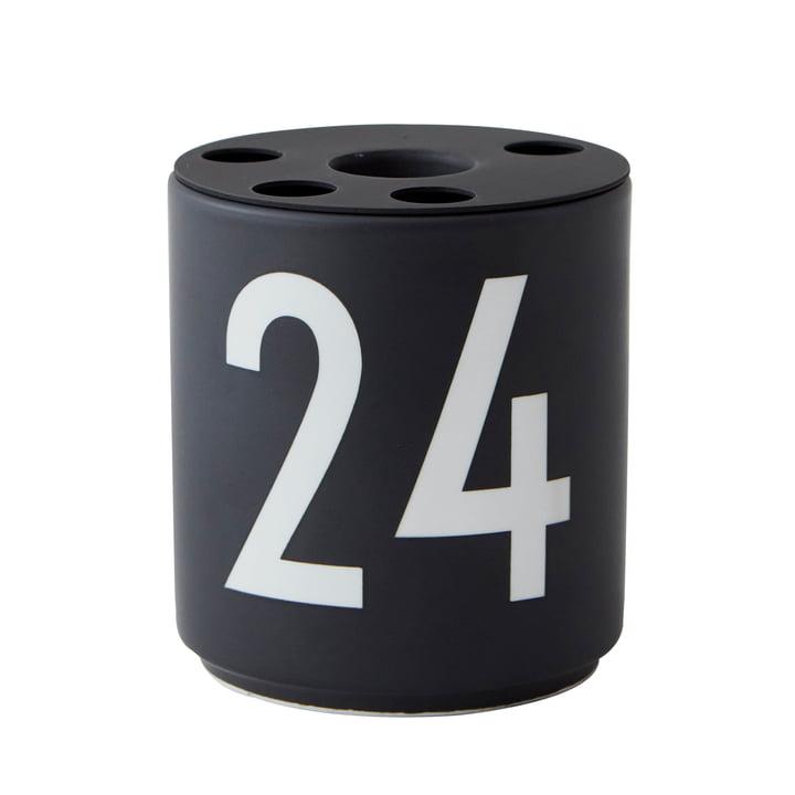 """Bougeoir en porcelaine, """"24"""" / noir de Design Letters"""