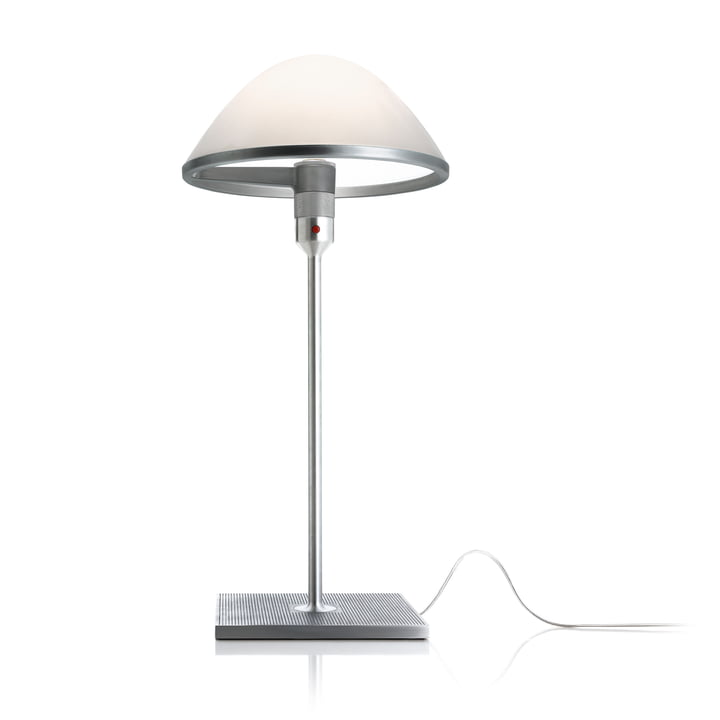 La lampe de table Miranda D60 de Luceplan en aluminium / verre opale