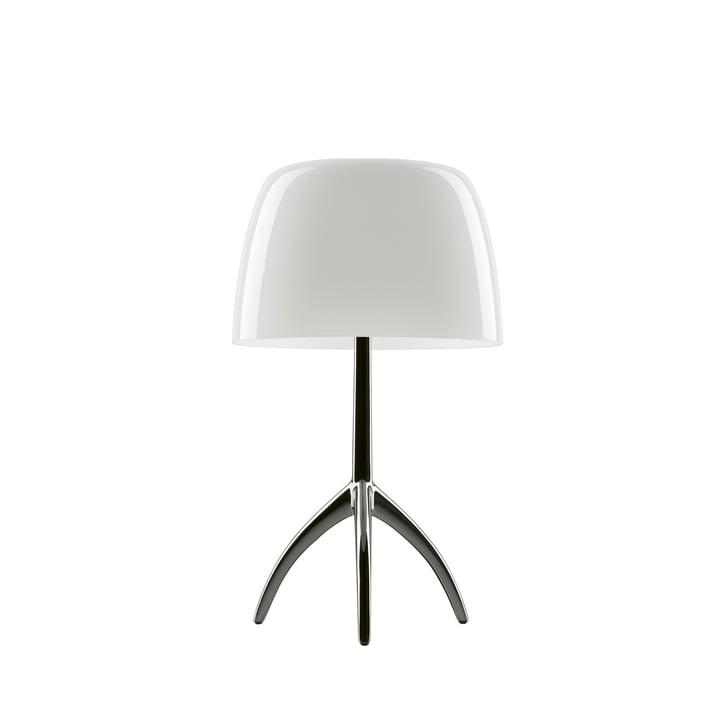 La lampe de table Lumiere 05 piccola G9 de Foscarini en aluminium / blanc