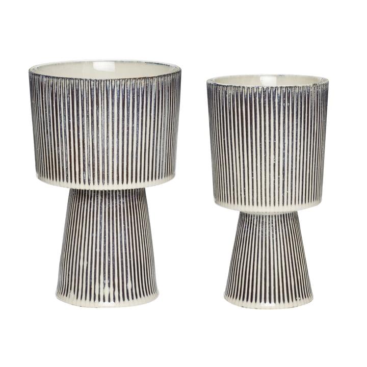 Ensemble de 2 pots en céramique, beige / noir par Hübsch Interior