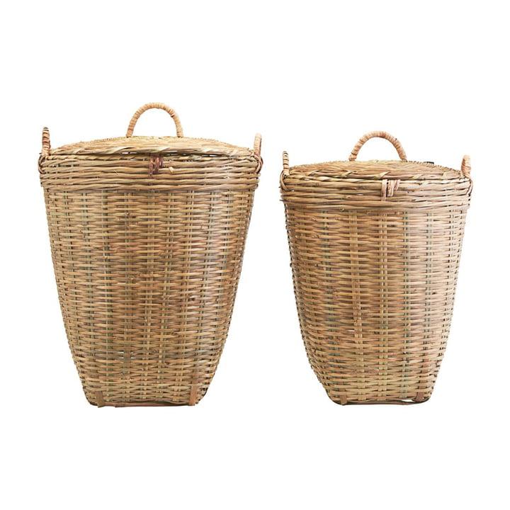 Le panier à linge Tradition avec couvercle de Meraki en lot de 2 en brun