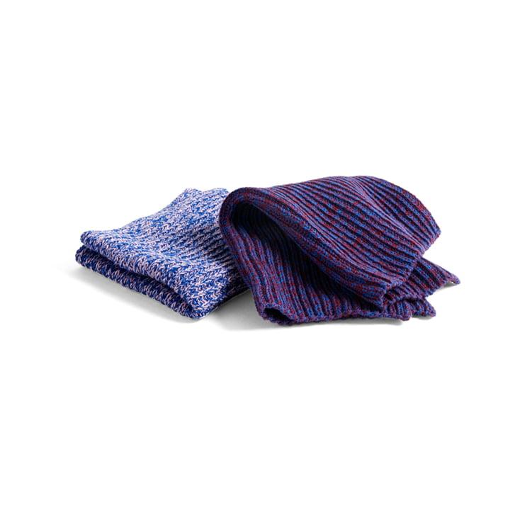 Torchons à vaisselle aspect tricoté (lot de 2), mélange bleu / rose / rouge par Hay