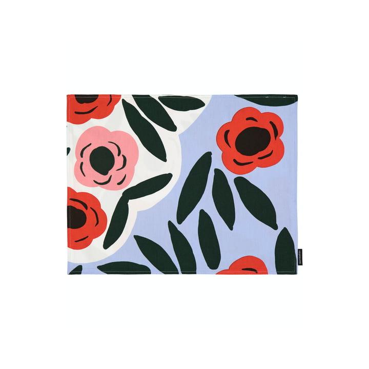 Le set de table Ruukku de Marimekko, bleu clair / rouge / vert foncé