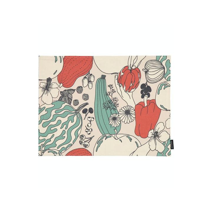 Le set de table Vihannesmaa de Marimekko en coton blanc / rouge / vert