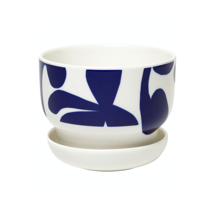 Le pot de fleurs Ruudut de Marimekko en blanc / bleu