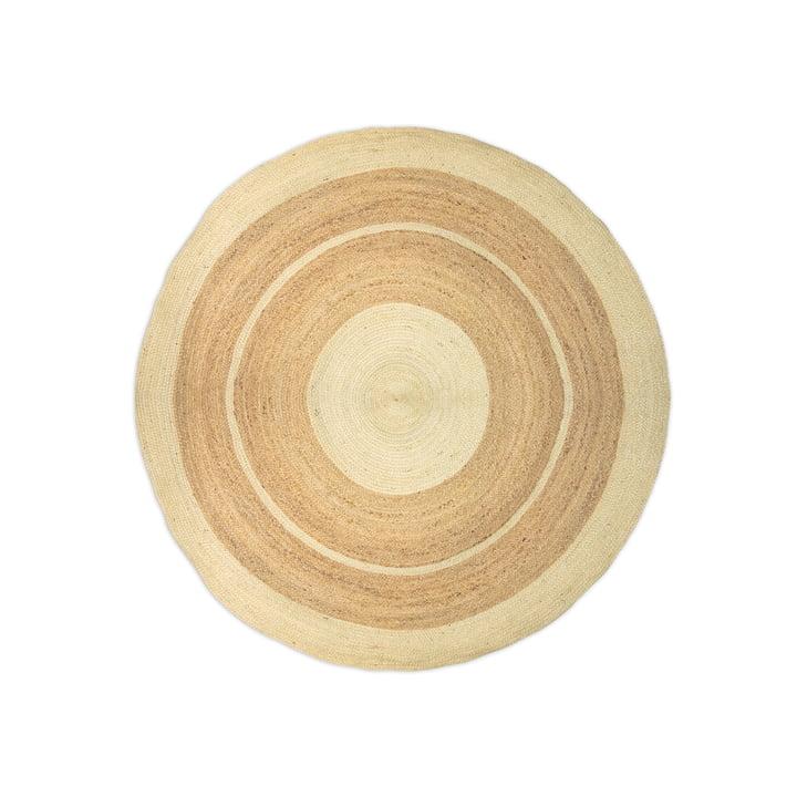 Le tapis de jute avec des rayures de Connox Collection , Ø 130 cm, blanc / nature